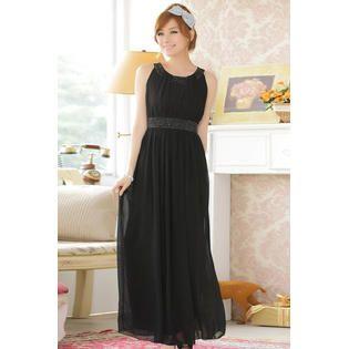 KettyMore Women Sleeveless Chiffon Bead Decorated Prom Night Dress Black