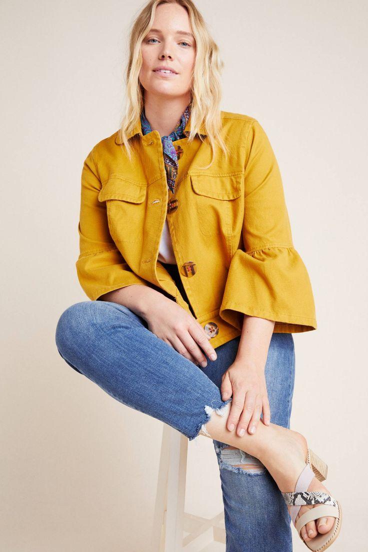 Nora Flounce-Sleeved Trucker Jacket by Anthropologie in Yellow Size: Xs, Women's Jackets 3