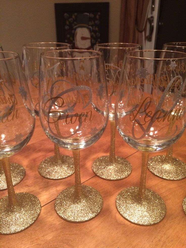 Gold And Silver Glitter Stem Wine Glasses With Glitter