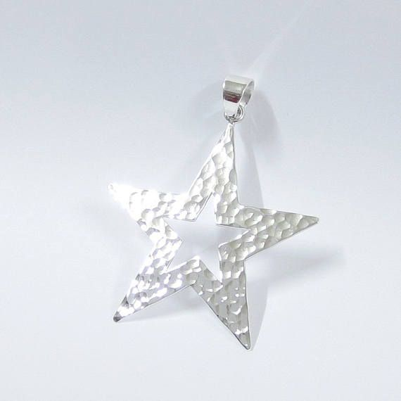 Sterling silver pendant 18 pinterest silver star pendant 925 sterling silver star charms star necklace large star mozeypictures Image collections