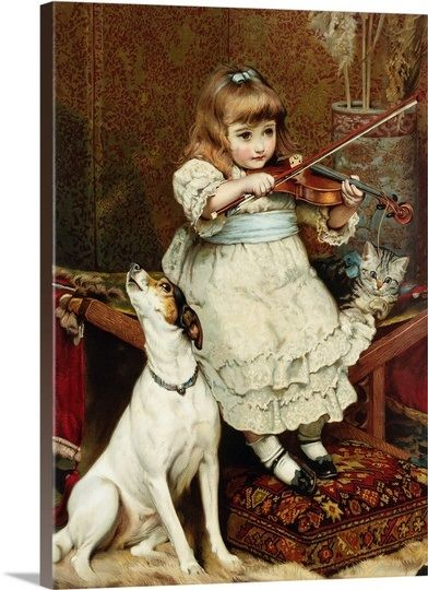 Picture Of Little Girl Playing Violin With Dog Howling