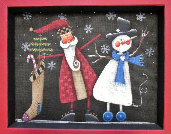 Santa Holding Stocking and Winter Snowman by barbsheartstrokes