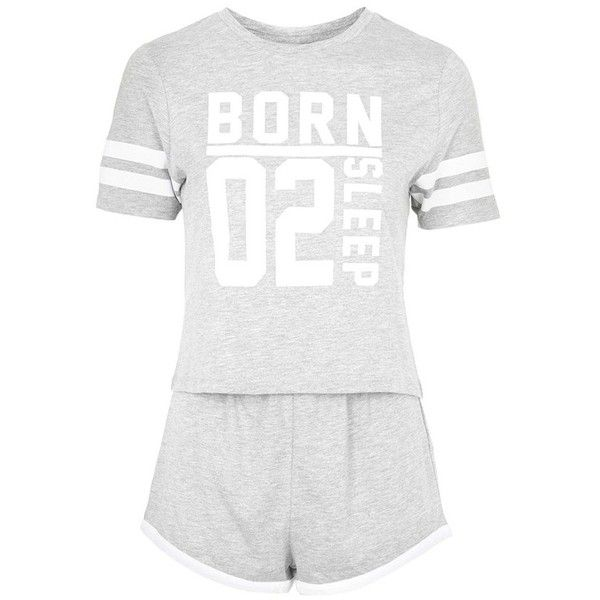 Topshop 'Born to Sleep' Short Pajamas ($40) ❤ liked on Polyvore featuring intimates, sleepwear, pajamas, topshop, short sleeve pajamas, striped pajamas, striped pyjamas i striped pjs