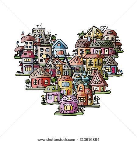 City of love, heart shape sketch for your design. Vector illustration