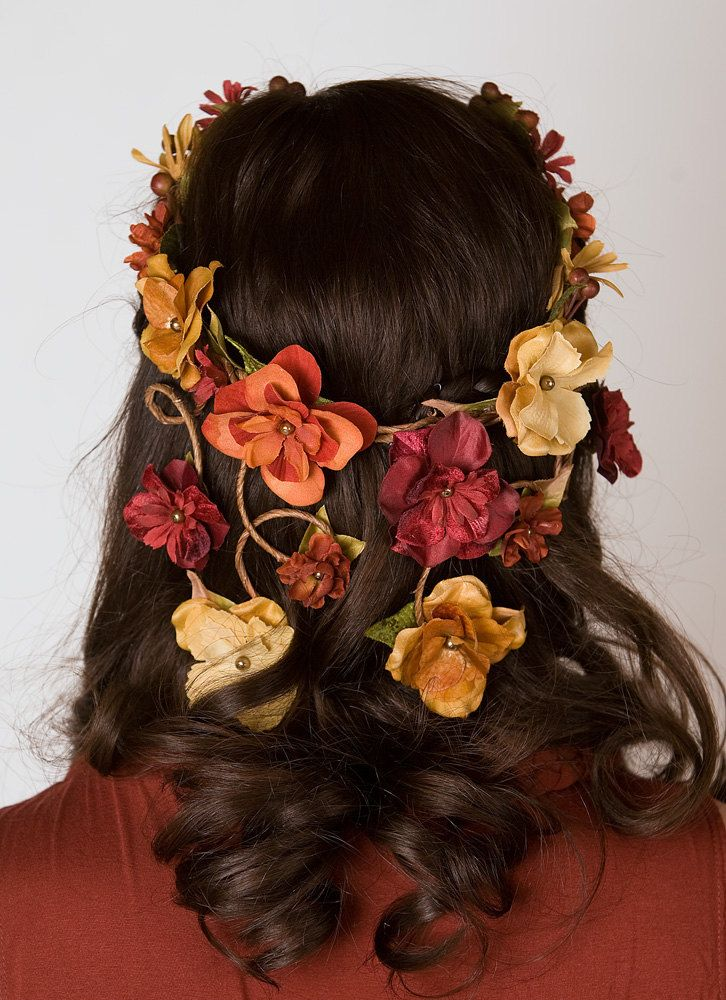 Bohemian Flower Crown - Cascading Veil of Fall Colored Flowers - Woodland Wedding Wreath, Forest Nymph
