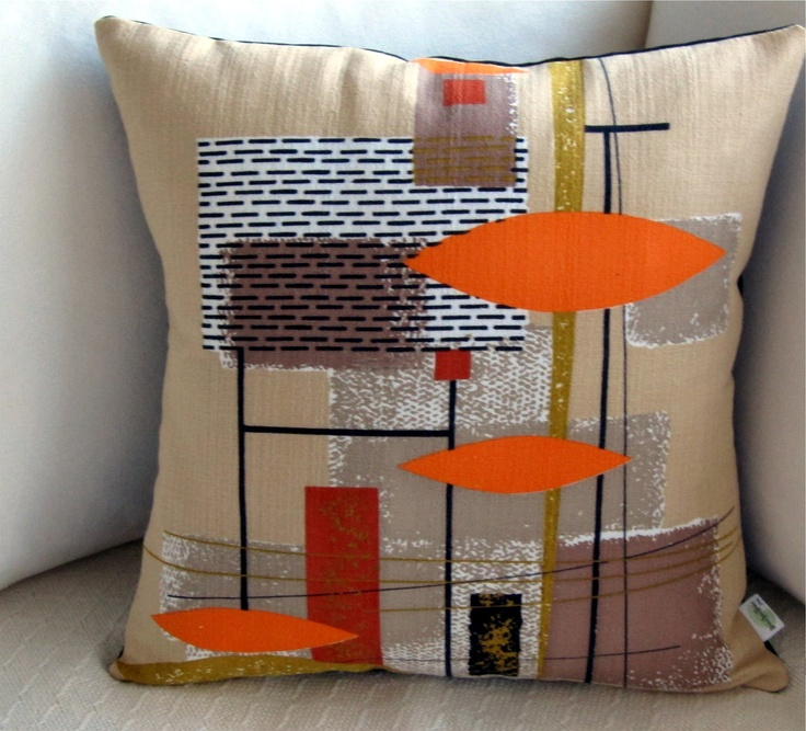Mid Century Throw Pillow : Etsy: Retro Throw Pillow -- Vintage Barkcloth - Orange, Rust and Tan Mid-Century Modern ...