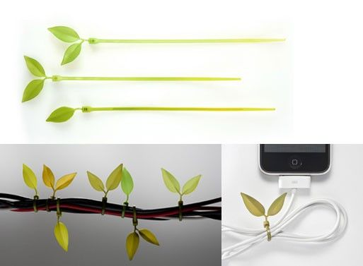 I hate wires and this is so neat!: Good Ideas, Leaf Ties, Creative Products, Hate Wire, Cool Ideas, Cable Management, Cable Ties, Green Ideas, Cords Management