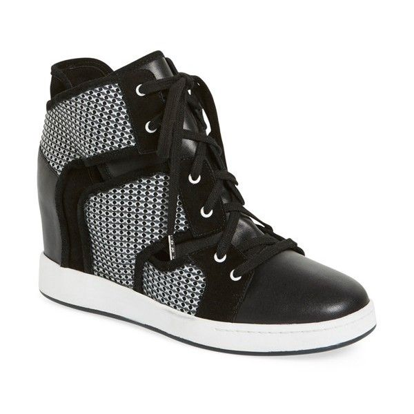 """L.A.M.B. 'Gera' Hidden Wedge Sneaker, 3 1/2"""" heel (13,930 PHP) ❤ liked on Polyvore featuring shoes, sneakers, black leather, high heel shoes, wedged sneakers, black shoes, studded lace-up wedge sneakers and black high heel shoes"""