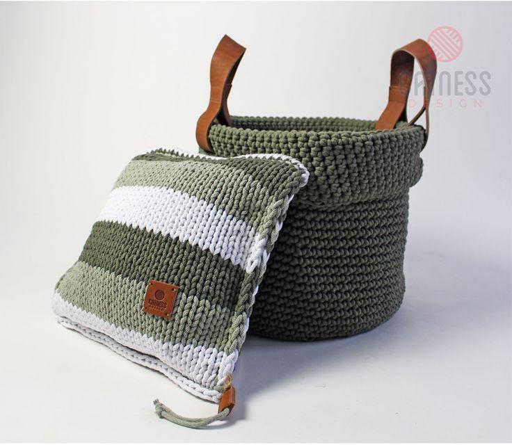 Hand-crocheted basket. Hand-knitted cushion. Soft furnishing. Interior design.