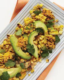 Avocado Cilantro Summer Salad: 4 shucked ears of corn 1 sliced Hass avocado 1/4 cup fresh cilantro 1 tablespoon fresh lime juice 1 tablespoon extra-virgin olive oil 1/2 teaspoon coarse salt