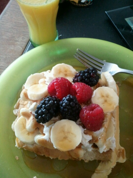 Yummy waffle breakfast with homemade ricotta cheese, cinnamon, fruit ...