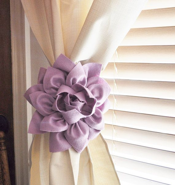 ONE Rose Flower Curtain Tie Backs Curtain Tiebacks by bedbuggs