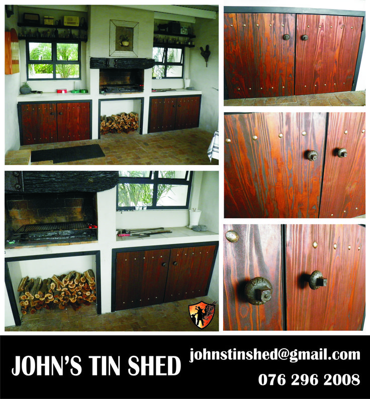 Custom steel frame doors for braai area, with sandblasted wood cladding