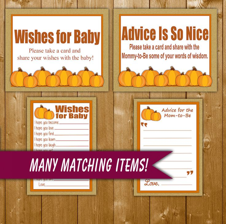 Little Pumpkin Advice for Mommy to Be and Wishes for Baby Shower Games Pumpkin Game with Sign, Fall Shower Games, Printable Instant Download