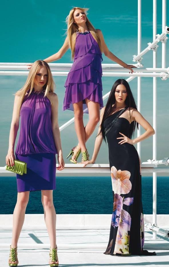 Scollo americano con ricamo in tinta per due abiti corti in microrete e #jersey. L'abito lungo è realizzato in georgette stampata con minuzioso ricamo in tinta che contorna ed evidenzia la scollatura asimmetrica.  Sandali e pochette in satin verde chiaro e piccoli cristalli incastonati nel motivo di drappeggio della collezione #FabianaFerriShoes & Bags S/S 2014 #springsummer2014 #viola #violet #flower #green #fashion #woman #dress #cocktaildress #glamour #specialevent #partydress