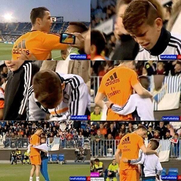 Cristiano Ronaldo with a boy. #Respect