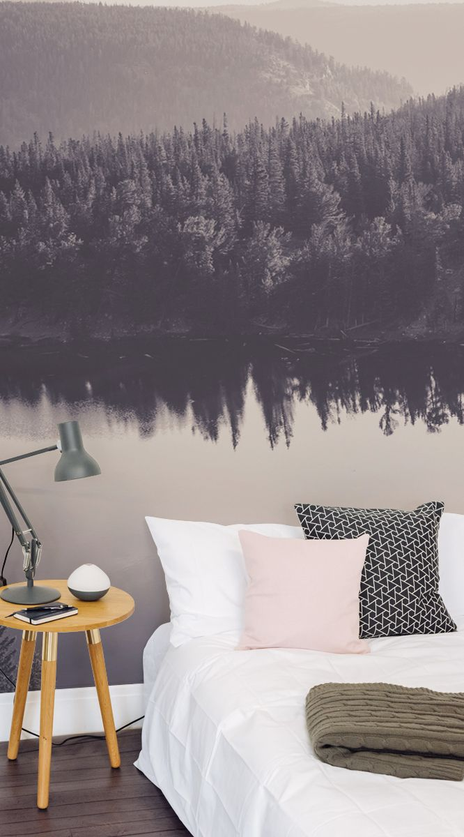 The shades in this mural are neutral enough to be mixed with other bold colours, like red or yellow. You can enhance natural wood furniture with this wall mural as a background. The Finnish Lake Wall Mural is best used in the sitting room, study, bedroom or any place that you want to relax in. #wallpaper #murals #wallmurals #interior #interiordesign #design #home #homedecor #interiordecor #accentwall #inspiration #Ihavethisthingswithwalls