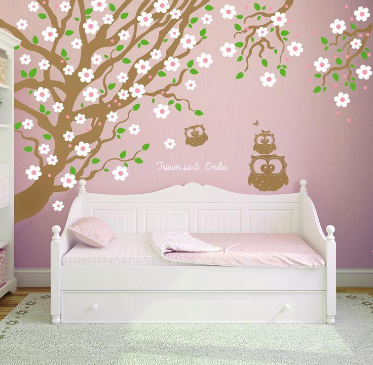 albero a muro decalcomania della parete Wall Decals Gufi con fiori di ciliegio e punti e lettere