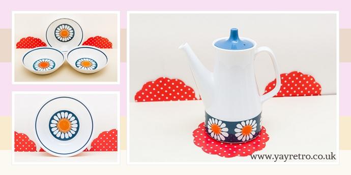 Figgjo Flint Turi Design Daisy Coffee pot and Dishes available at yay retro! now