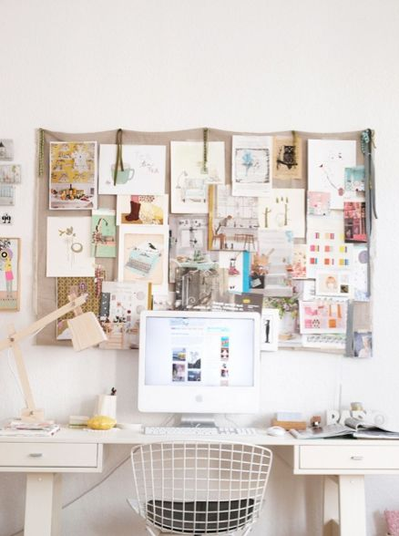 Tips for Decorating Your Dorm Room: Inspire your walls with a cool cork board and keep your workstation mess-freeIdeas, Mood Boards, Pin Boards, Offices Spaces, Work Spaces, Inspiration Boards, Workspaces, Design Home, Home Offices