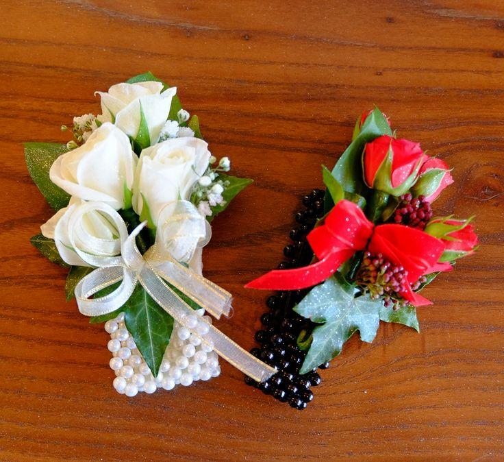 White on Cream Pearl vs Red on Black Pearl #rubyandblush#corsage