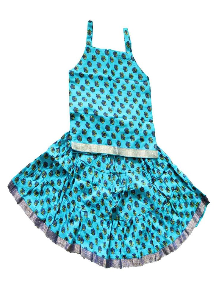 Kids cotton skirt and tops.. Partially crushed skirt  size : 3Y - 4 Y Price: Rs 520 Free shipping all over India http://www.princenprincess.in/index.php/home/product/348/Blue%20with%20flower%20design%20tops%20and%20skirt