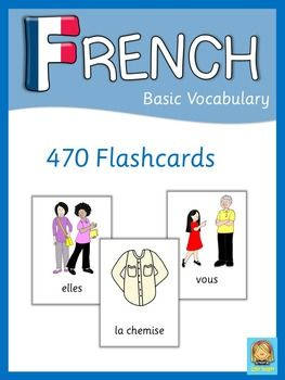 French flash cards with many topics for your French language lessons. This set contains 470 French flash cards. They are a great visual help for your students. .Topics covered in this set are:adjectivesanimalsbodyseasonsclothescolorsfamilyemotionsfoodhouse   rooms, furniture, appliancesprofessionsenvironmentcountries  nationalities, languagesnumbersplaces in townprepositionspronouns  subject, direct object, indirect objectschool objectstransportationverbs   free time activities, daily…