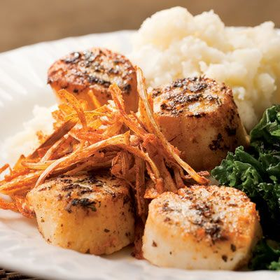Seared Scallops with Crispy Leeks - Heart Healthy Recipes - Quick Heart Healthy Meals - LOOKS YUMMY