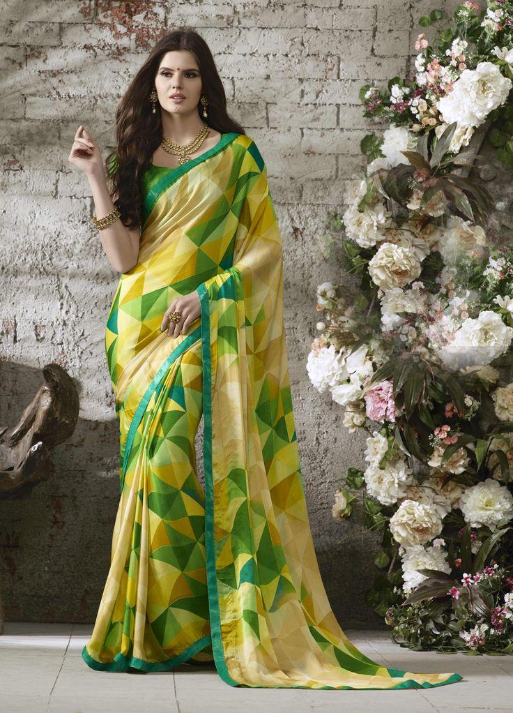 Beige Colored Printed Satin Chiffon Saree
