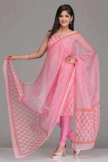 Pink Unstitched Kota Kurta  Dupatta Set With Dark Pink And Orange Hand-Block Printed Floral Motifs