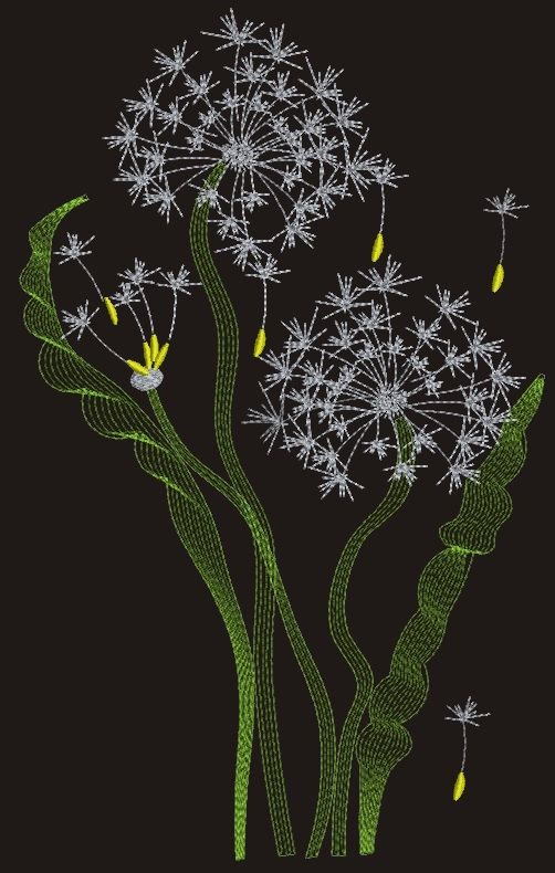 Dandelion machine Embroidery Designs  three by embroiderypapatedy