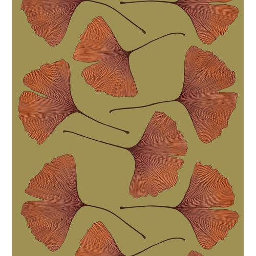 Marimekko Ginkgo Olive/Orange Cotton Sateen Fabric Repeat