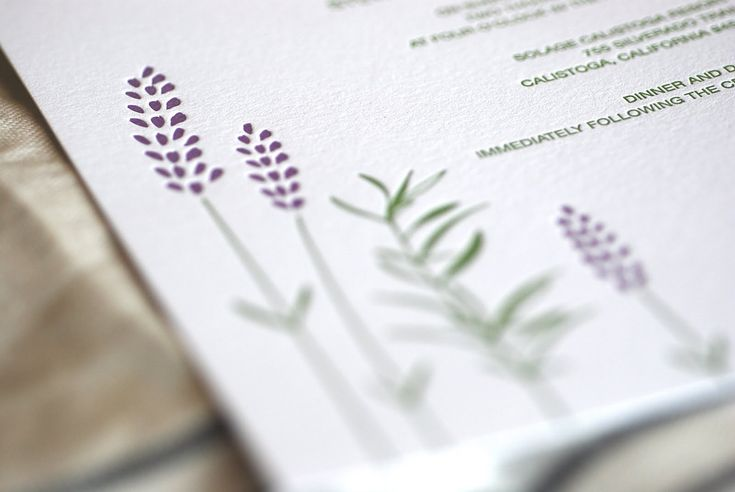 lilac wedding invitations | ... Lavender Letterpress Wedding Invitations2 550x368 Rosemary + Lavender