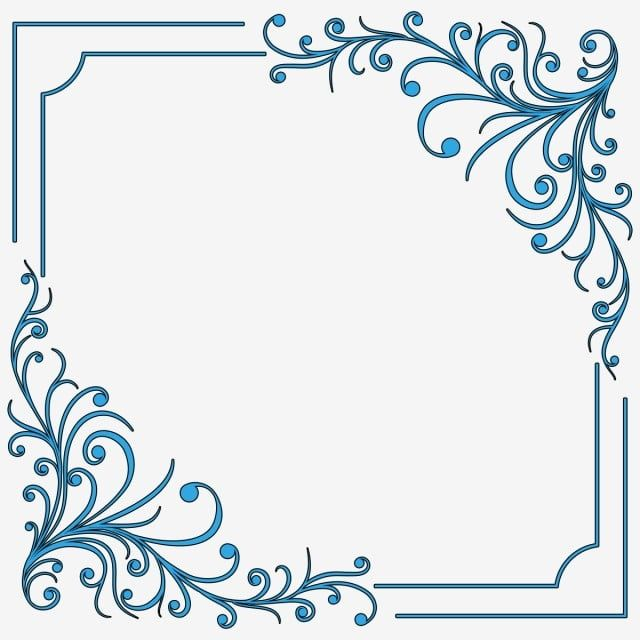 Blue Swirl Border Frame Loral Flourish Floral Png Transparent Clipart Image And Psd File For Free Download Blue Flowers Background Clip Art Borders Flower Clipart