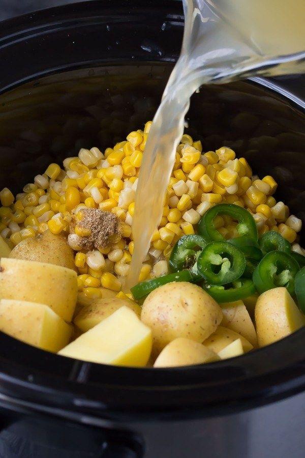 Potato corn soup and veg soup