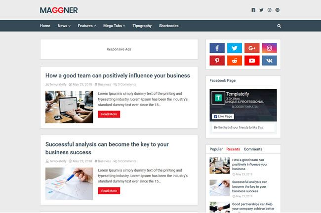 New Maggner Responsive Blogger Template Blogger Templates Responsive Blogger Template Free Blogger Templates