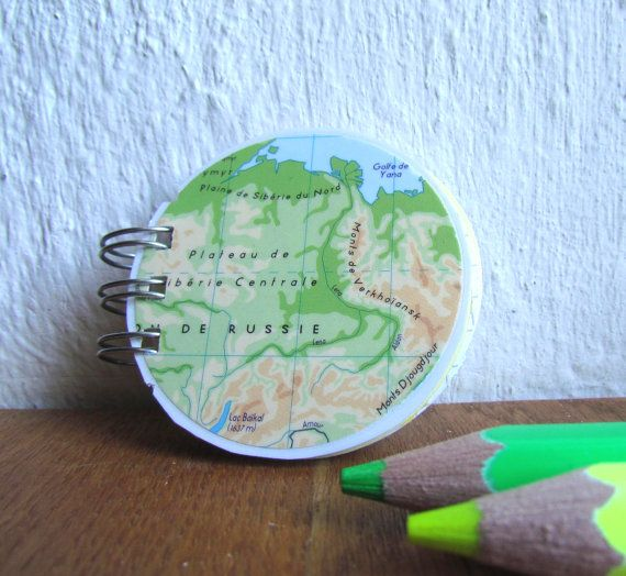 Upcycled map of Russia, mini spiral notebook. Buy from: www.latourstudio.etsy.com Carte de Russie recyclée, pour un mini carnet à spirale.  #russiangift #etsyfinds