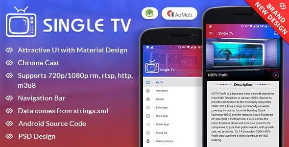 Single TV With Material Design | Source Code for Mobile Apps
