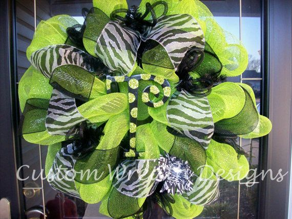 Lime Green and Black Zebra Wreath (with hand painted letter of choice). $85.00, via Etsy.