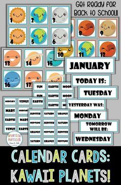 Printable classroom calendar with a fun solar system theme. Perfect for learning / reinforcing pattern skills while developing calendar skills.