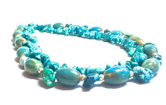 Turquoise Necklace genuine turquoise jewelry ceramic beaded necklace real turquoise wrap necklace December birthstone double strand necklace