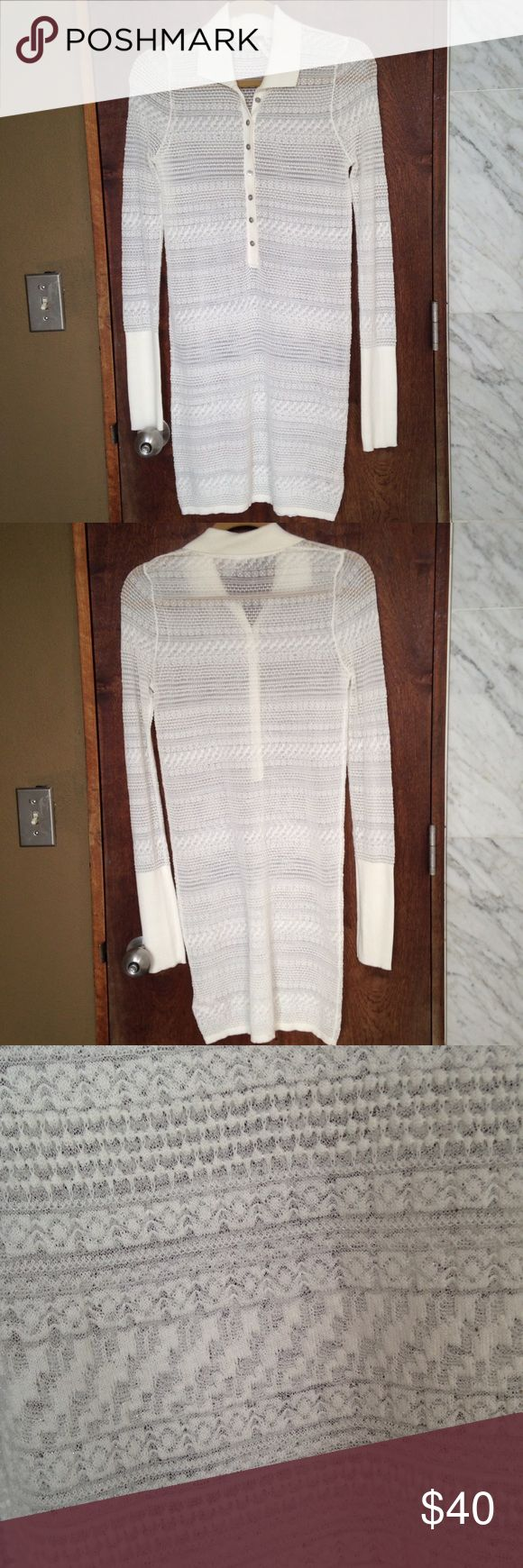 NWOT!! Free People White Knit Bodycon Beautiful white dress with silver sheen. Length:  36 in. Great condition Free People Dresses Long Sleeve