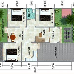 denah rumah minimalis type 45 3 kamar terbaru   Rumah minimalis, Dekorasi  minimalis, Desain rumah minimalis