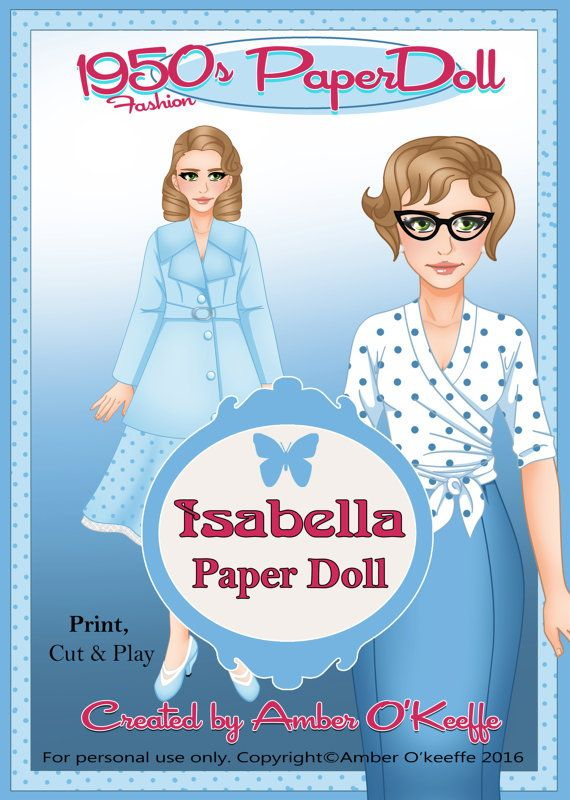 1950s Isabella Paper Doll Collection 6 by OkeeArts on Etsy