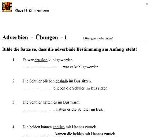 Deutsch als Fremdsprache DaF DaZ Grammatik - Adverbien