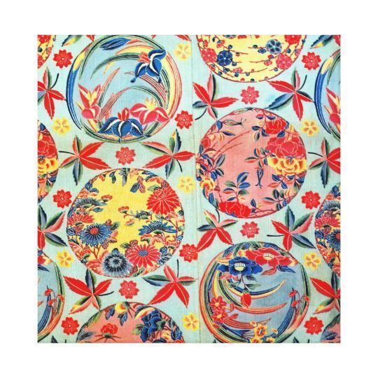 Japanese wall art is incredibly beautiful especially anything that has geishas, cherry blossoms, japanese friendship gardens and bridges.  I particularly love some of the japanese wall fans and other oriental wall art available.  Vintage Japanese Kimono Textile (Bingata) Canvas Print