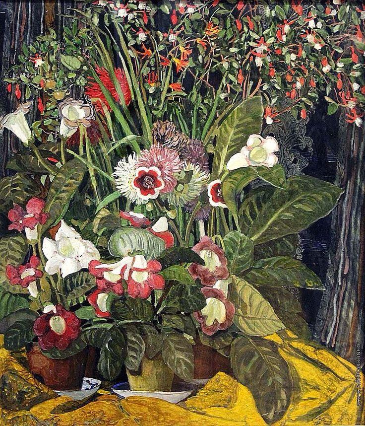 Alexander Golovin (1863 — 1930, Russia) Still life. Flowers. 1910-s watercolor, gouache cardboard.   Александр Яковлевич Головин