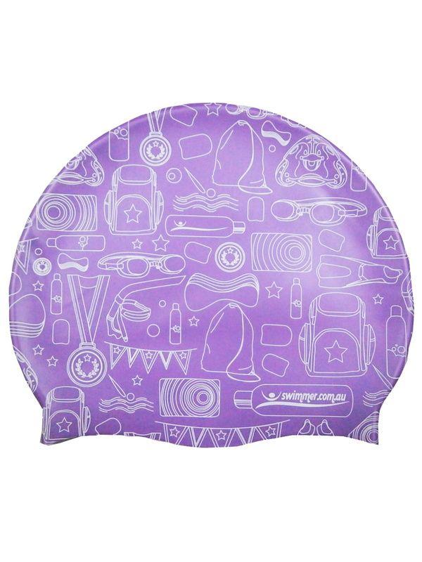 Swimmer.com.au Purple Silicone Swim Cap