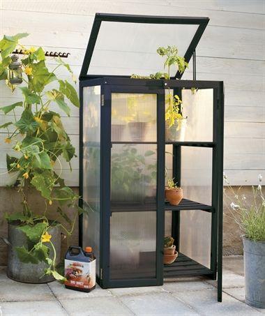 Växthus växtvitrin växtskåp svart balkong/terass