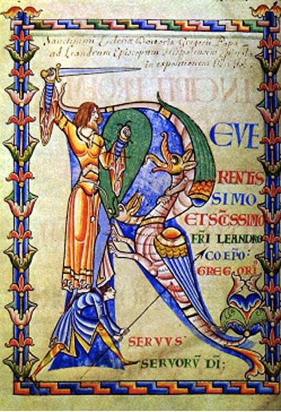 Man attacking dragons, R leaf, Moralia in Job -- Dijon, B.M., MS 168, f.4v -- ca. 1120